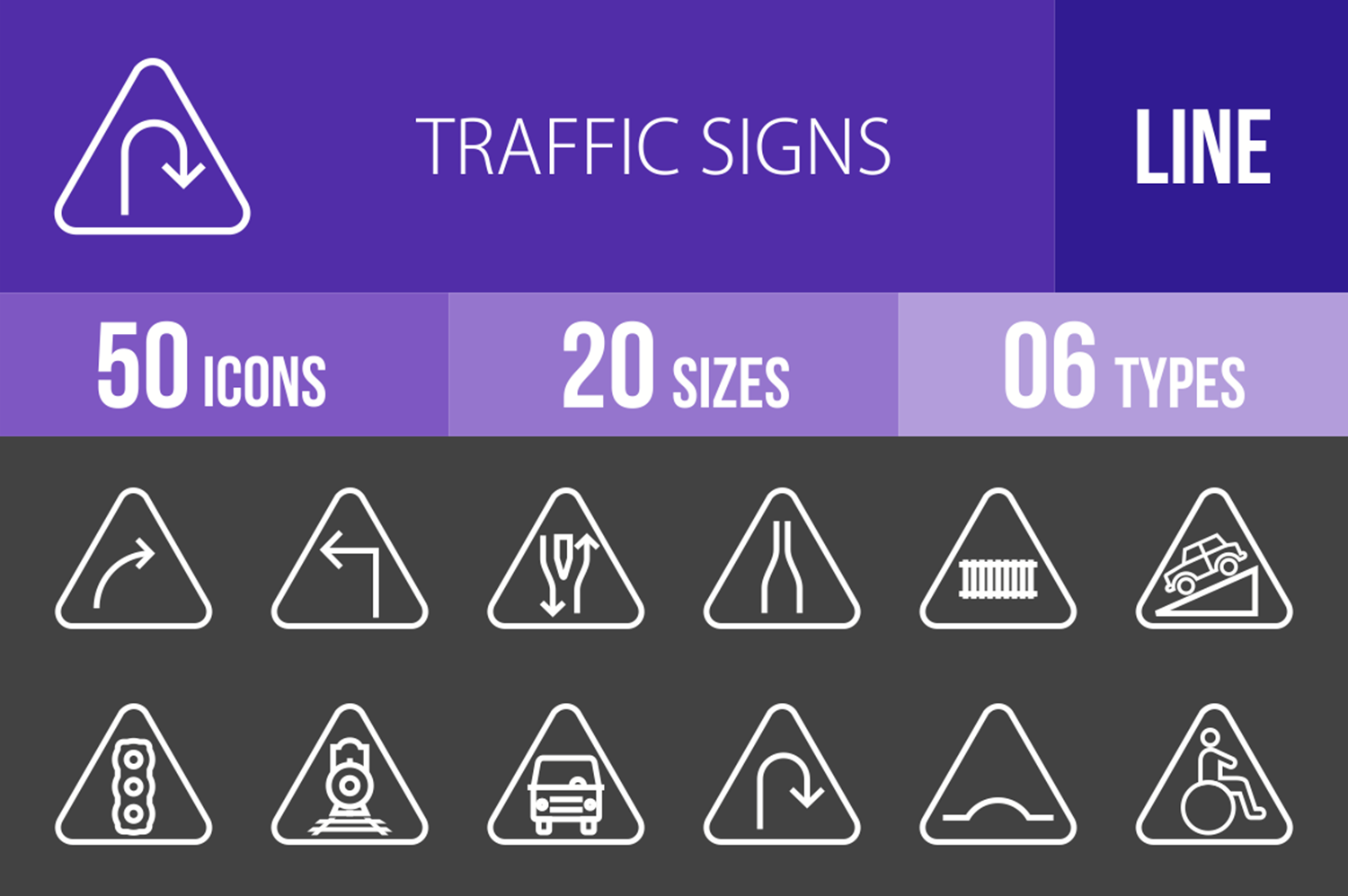 50 Traffic Signs Line Inverted Icons example image 1