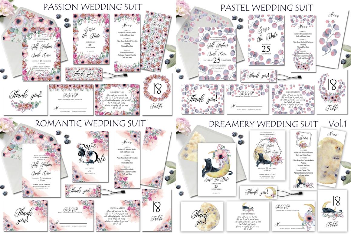 Watercolor Wedding Invitations Suits. GIANT BUNDLE example image 10