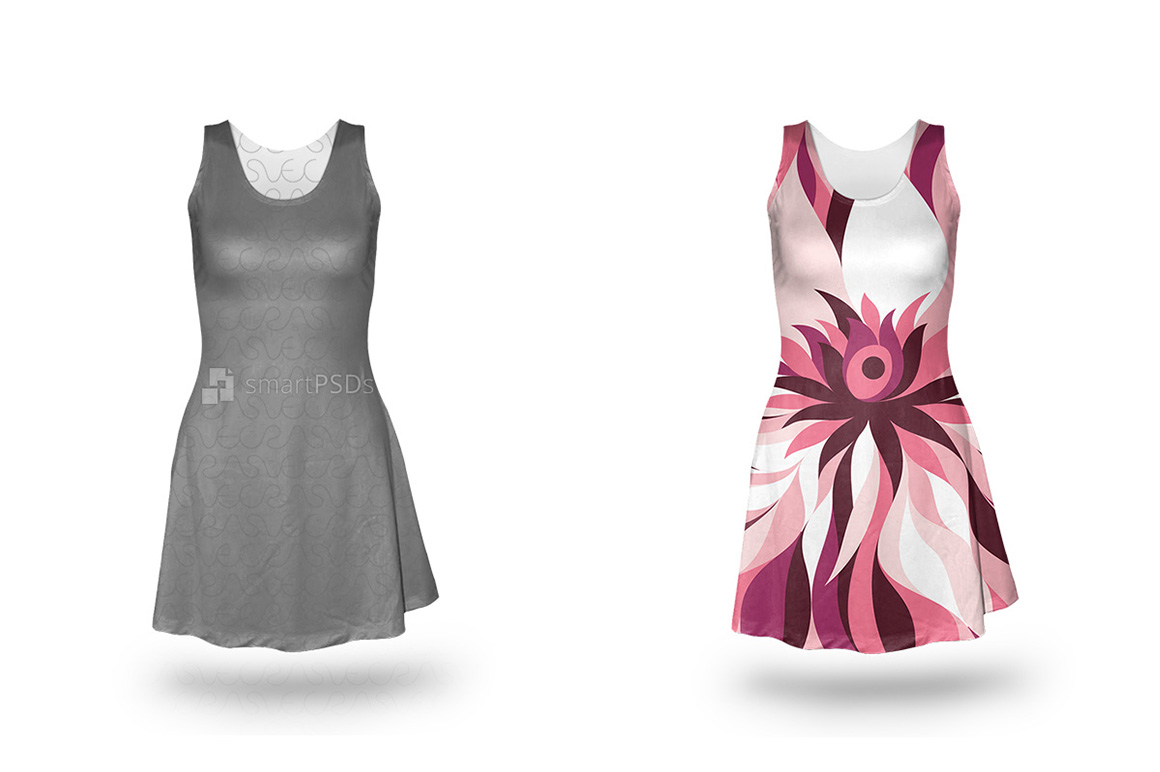 Feminine Sleeveless Dress Design Mockup of Sublimation Cloth Printing - 4 Views example image 3