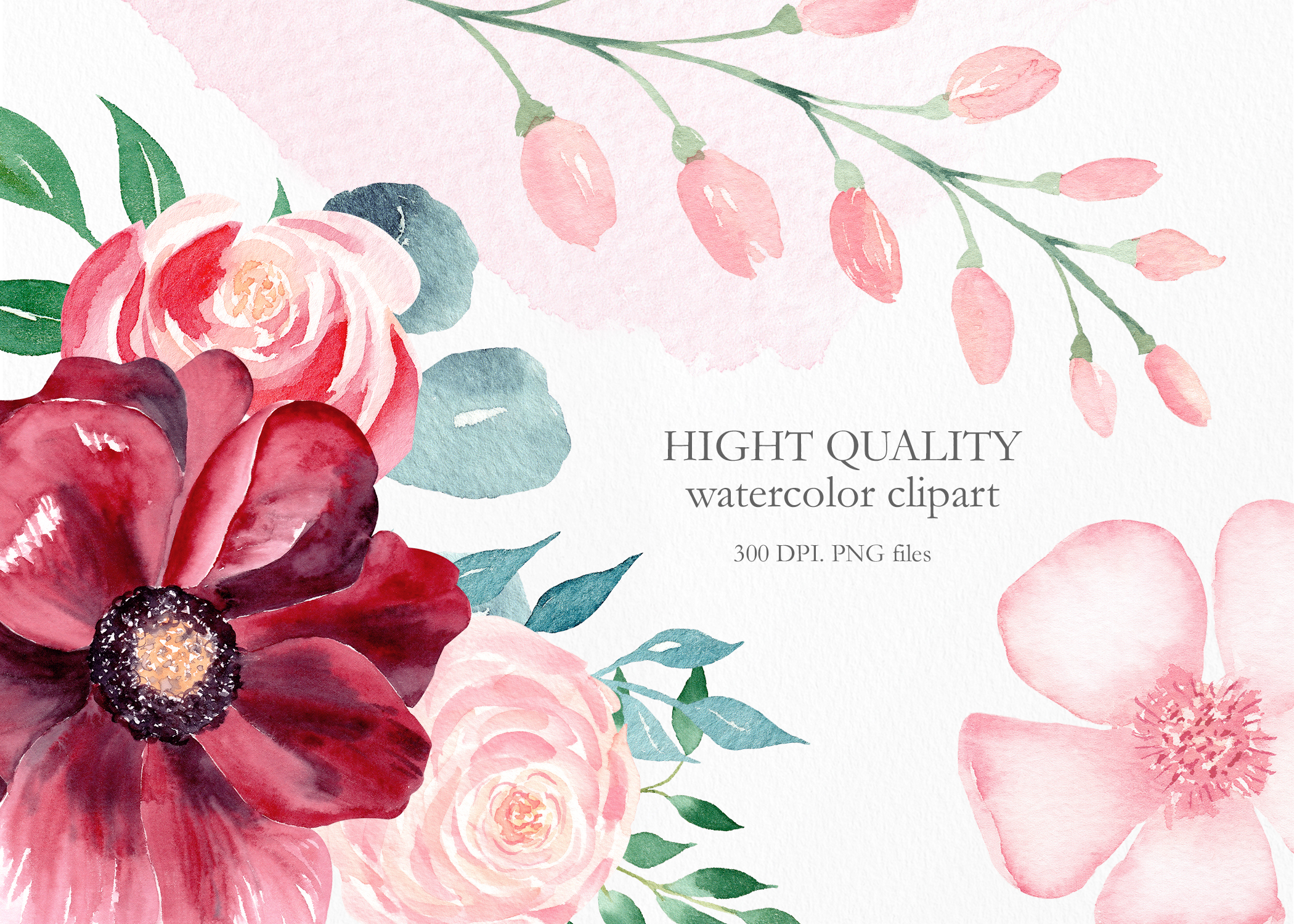 Watercolor Burgundy Floral Clipart Collection. example image 15