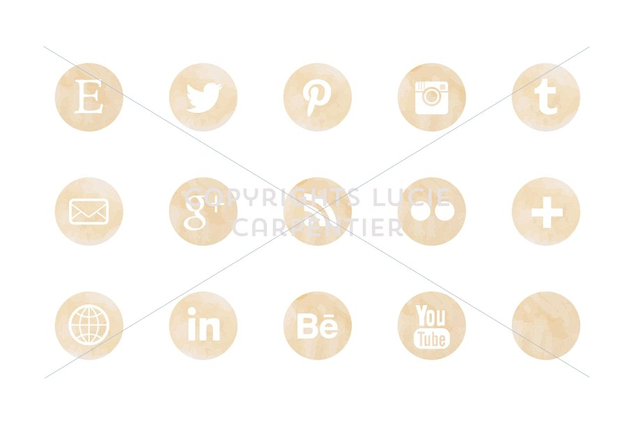Watercolour social media icons example image 3
