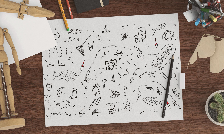 Fishing doodle set+seamless patterns example image 1