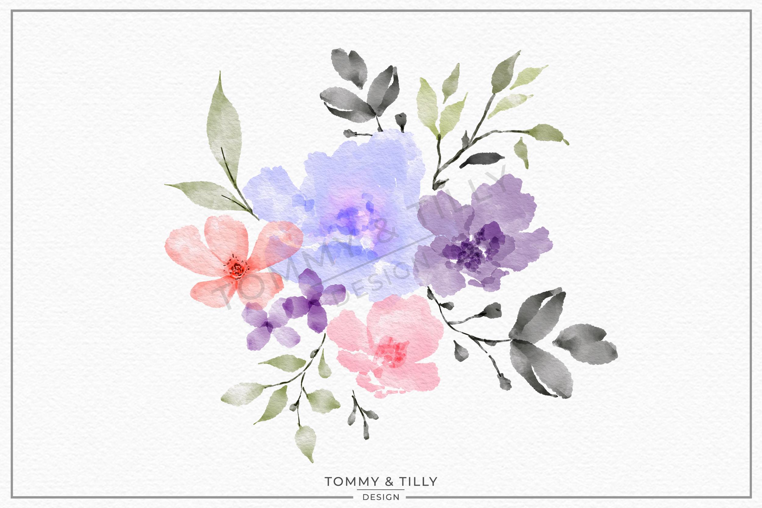Watercolour Lilac Bouquet - Sublimation | Clipart | PNG example image 1