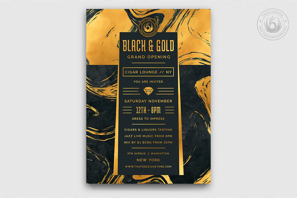 Black and Gold Flyer Template V12 example image 1