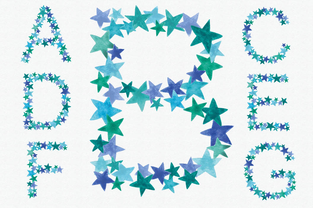Greeny blue star alphabet + FREEBIE example image 2
