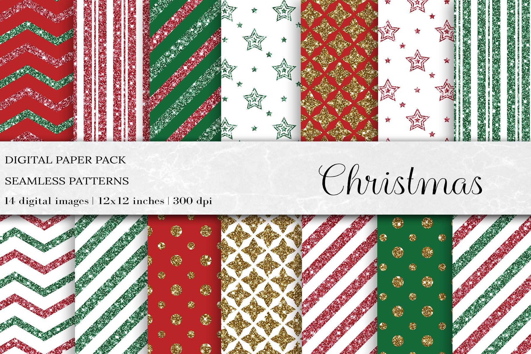 Glitter Christmas Seamless Pattern, Christmas Patterns example image 1