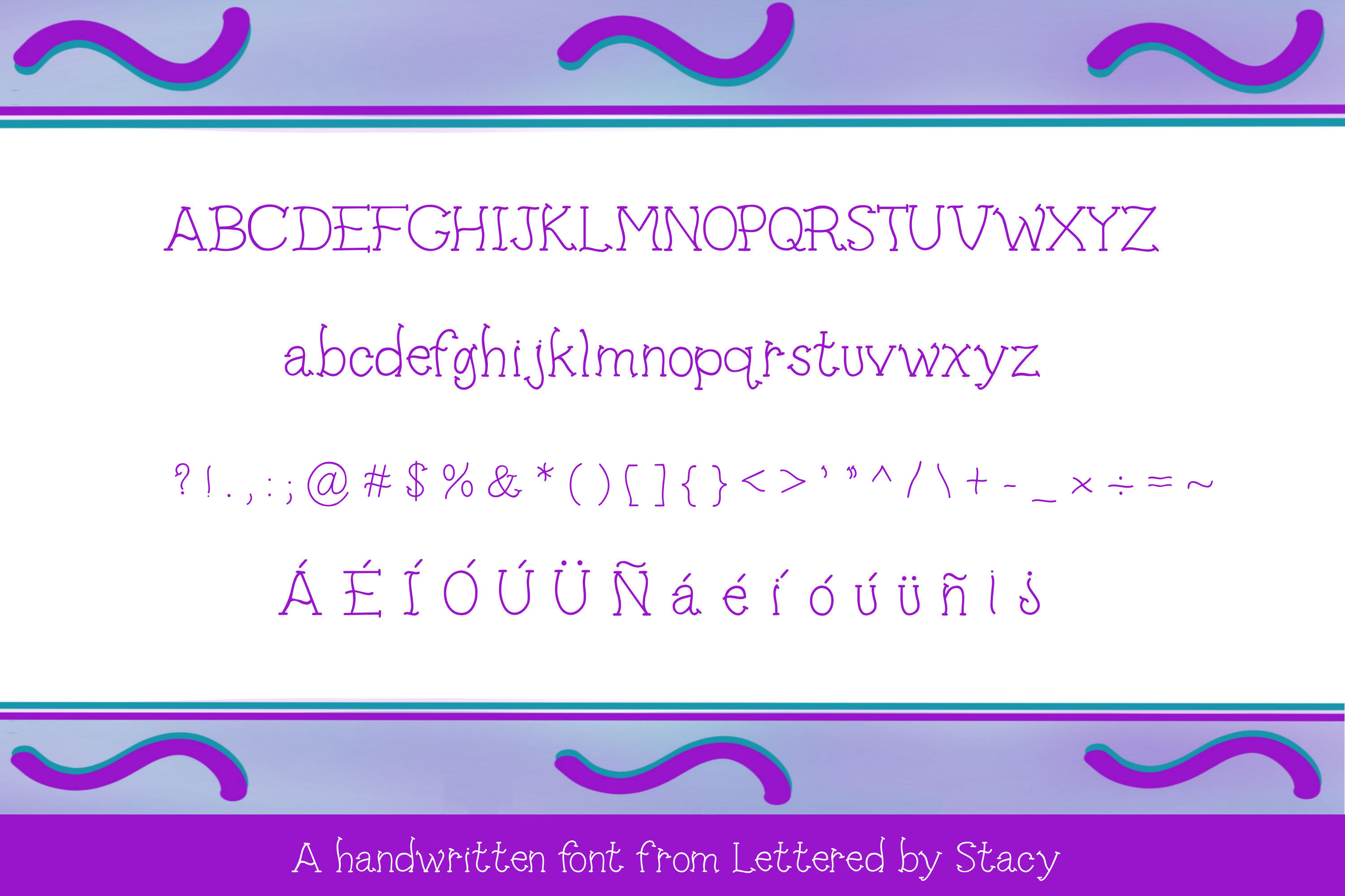 Squigglies - A fun handwritten print font example image 2