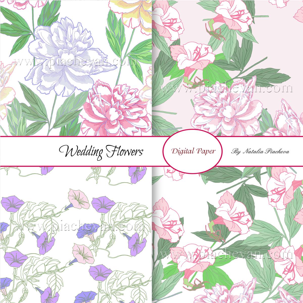 Wedding Flowers.Digital Paper example image 2
