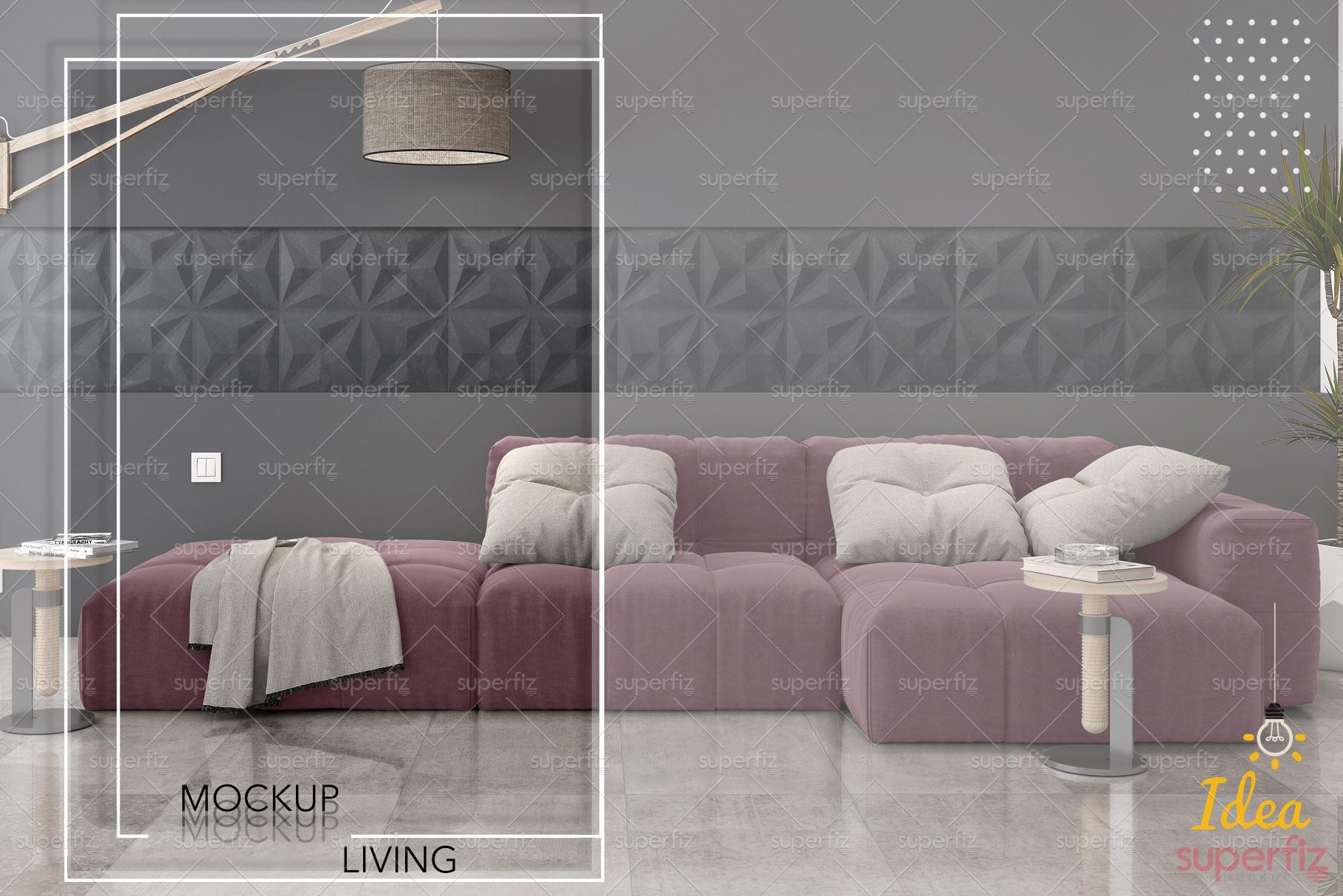 Floor and Wall PSD Mockup Livingroom SM87 example image 6