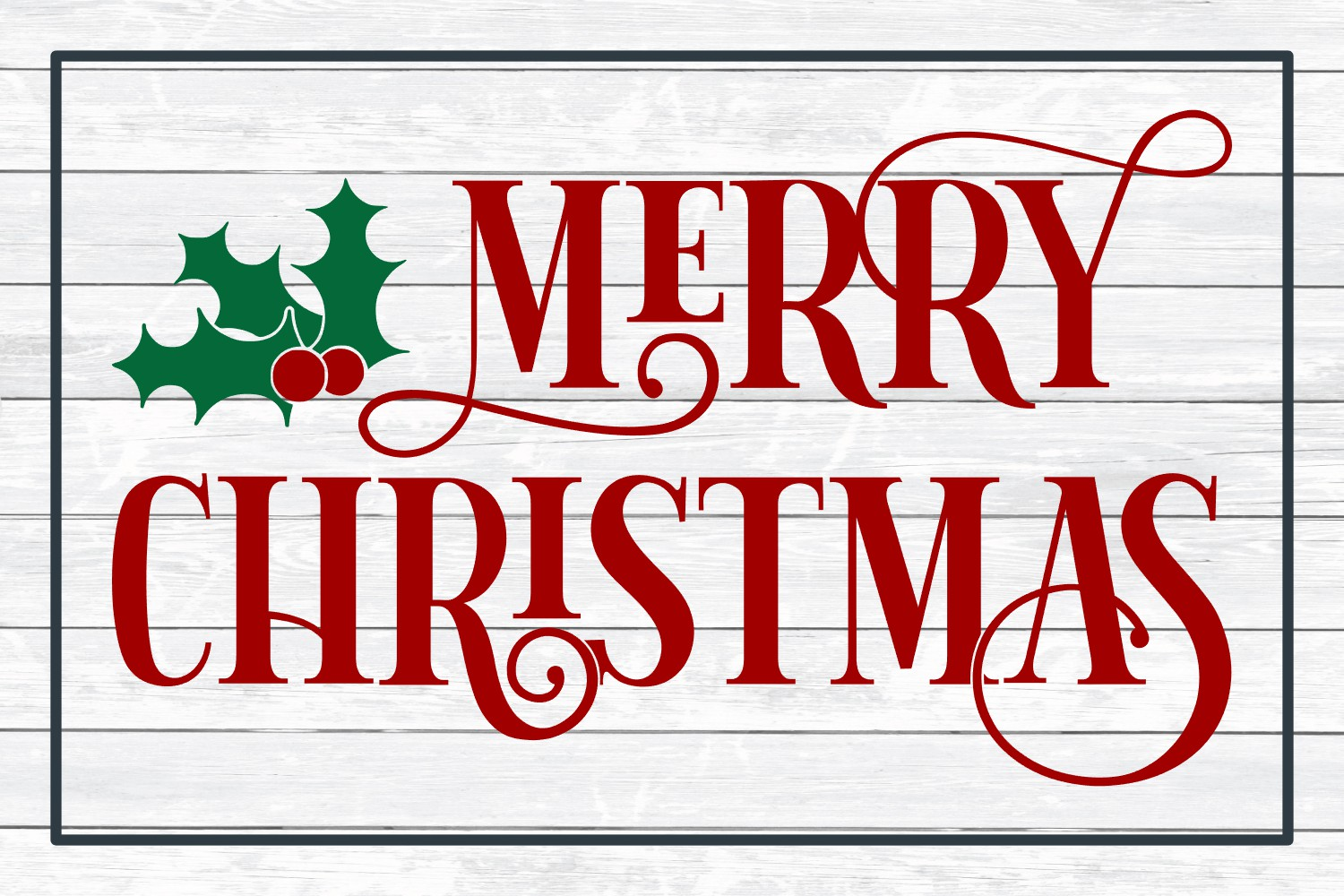 Merry Christmas, Winter Holiday SVG Cut File example image 3