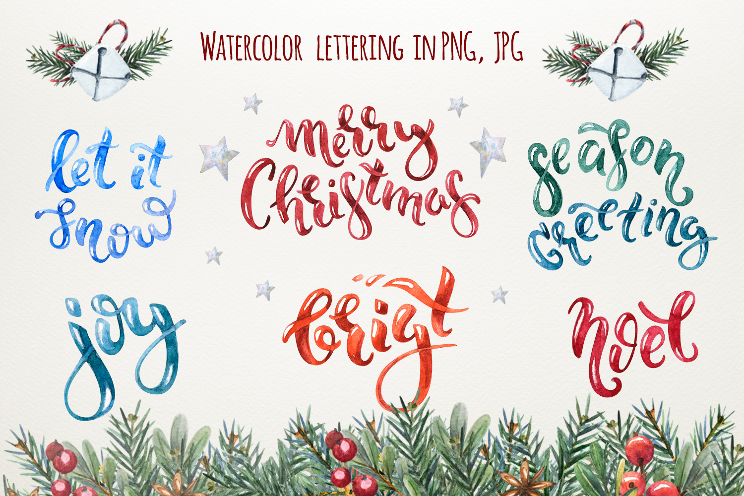 Magic Christmas set. Watercolor clipart collection example image 3