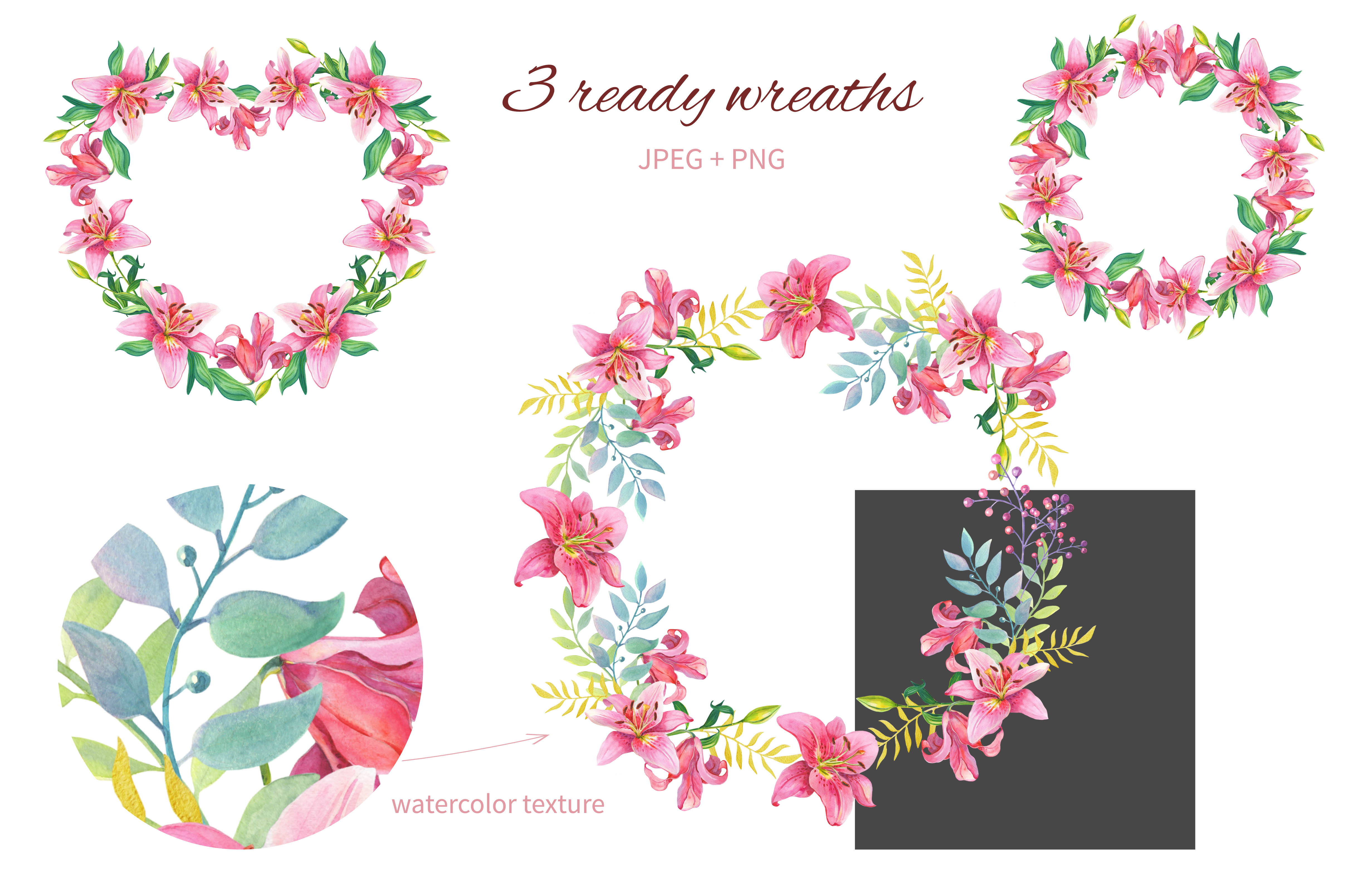 Pink Lilies.Watercolor clipart. example image 4