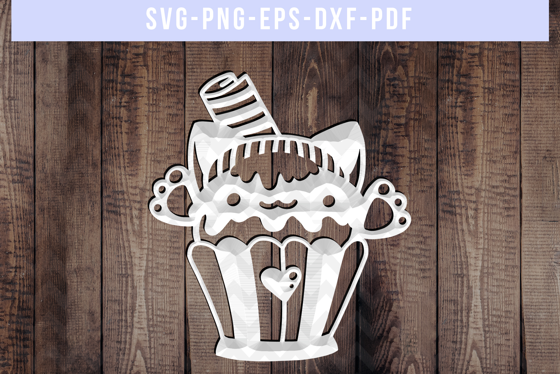 Cat Cupcake Papercut Template, Baking Clipart Scrapbook, PDF example image 3