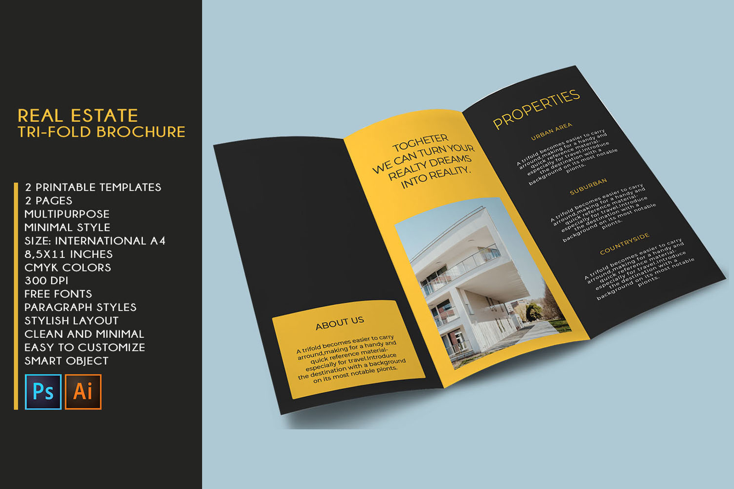 Trifold Real Estate Printable Brochure |Templates PSD/AI A4