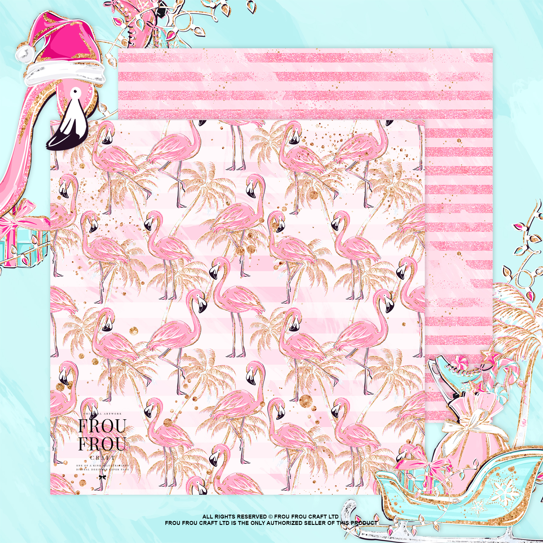 Pink Flamingo Christmas Presents Glitter Paper Pack example image 5