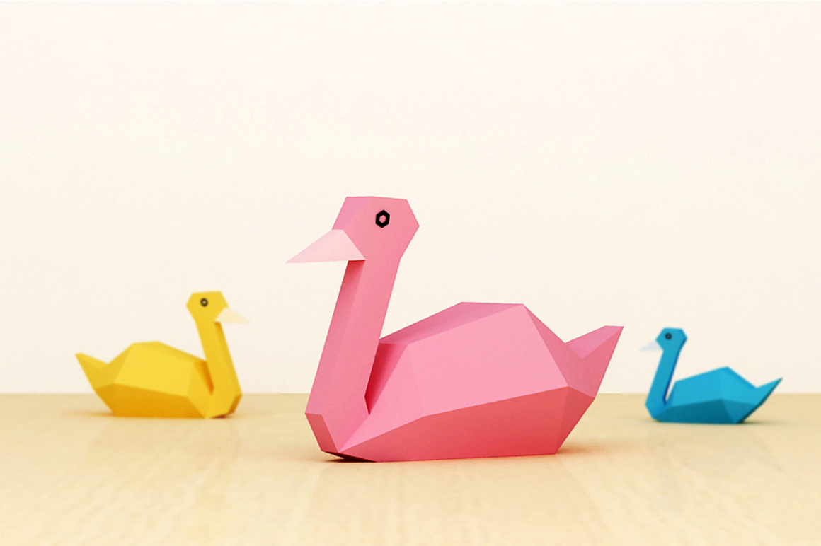 DIY Paper Swan - 3d papercraft example image 1
