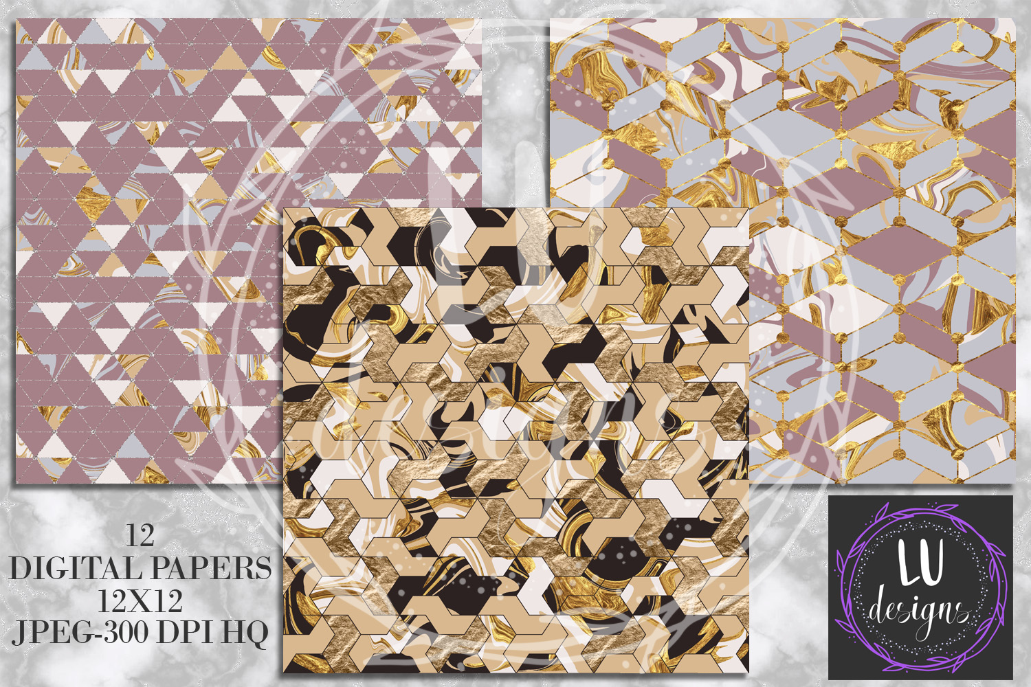 Geometric Marble Digital Papers, Geometric Backgrounds example image 2
