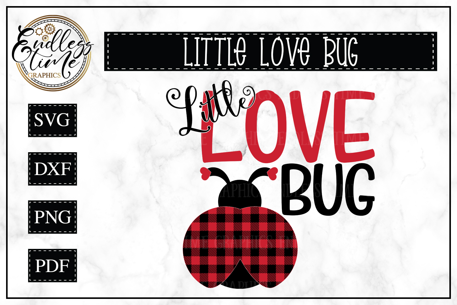 Little Love Bug - A Buffalo Plaid Valentine's Day SVG example image 1