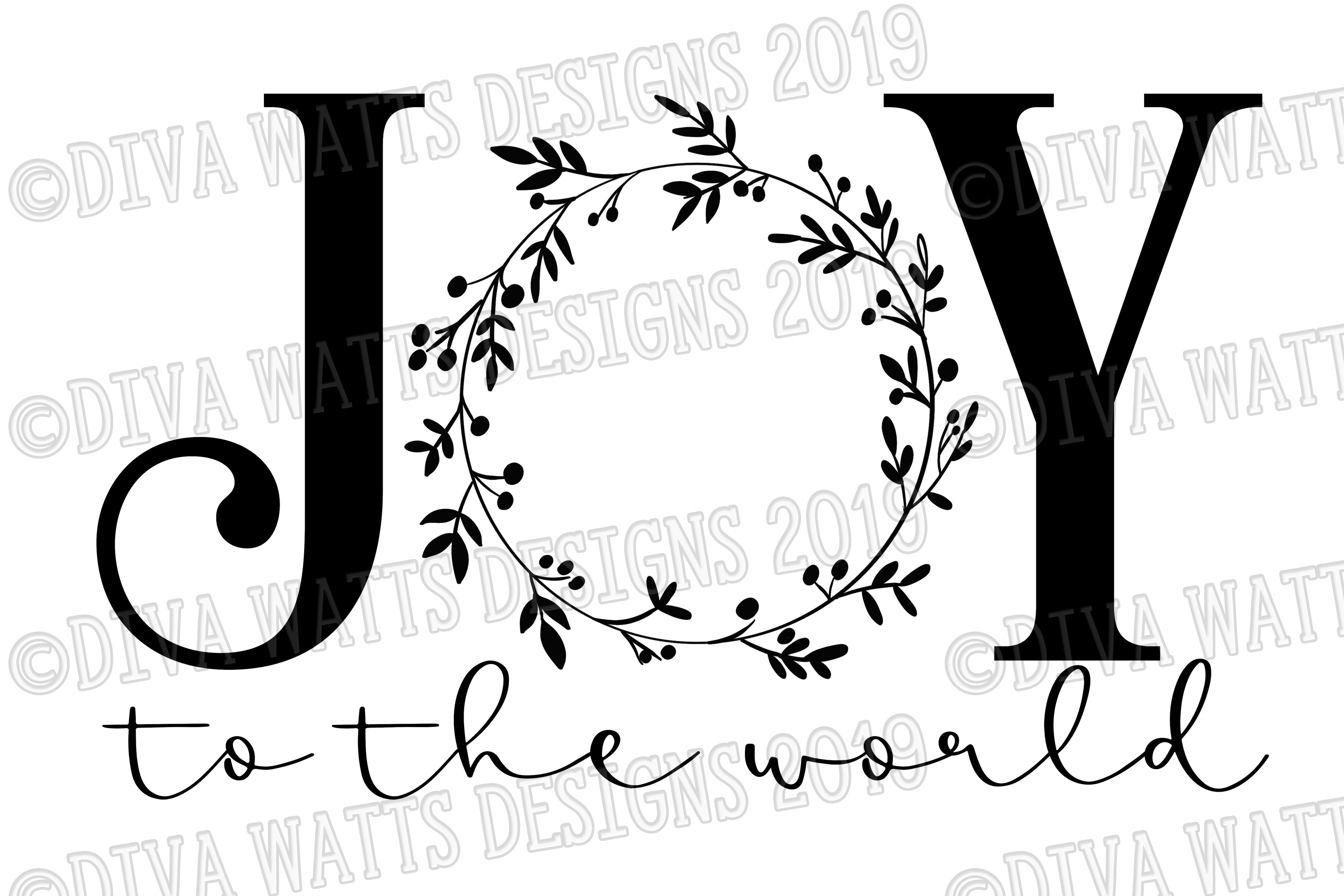Joy To The World with Wreath Cutting File for Christmas example image 2