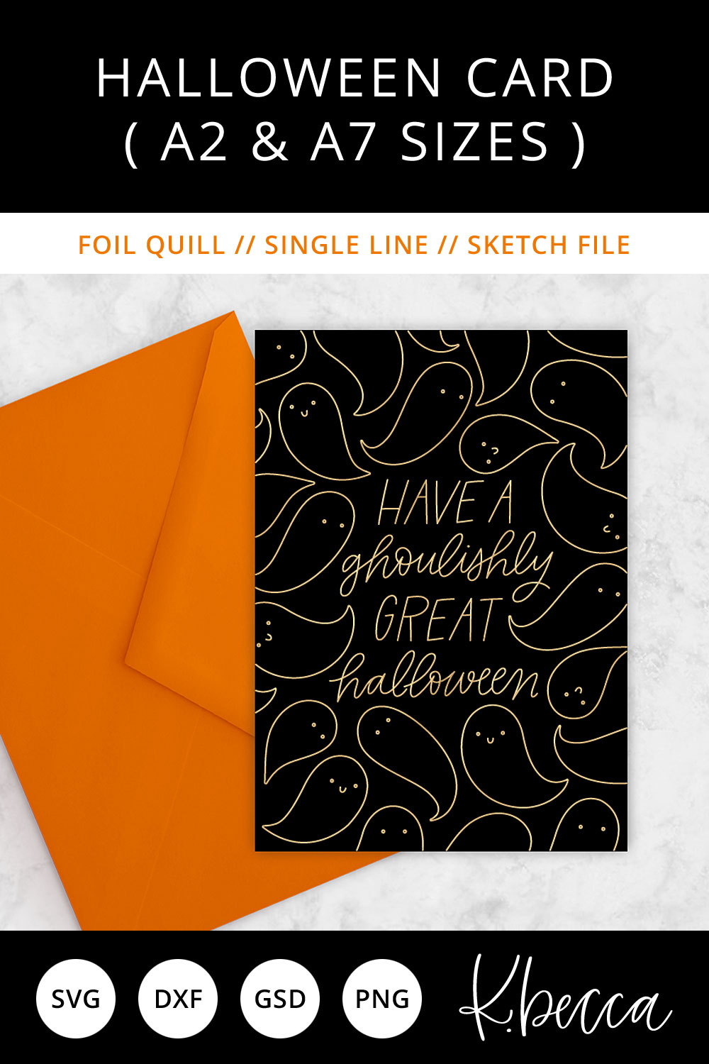 Foil Quill Sketch Halloween Card SVG - A2 & A7 Sizes example image 2