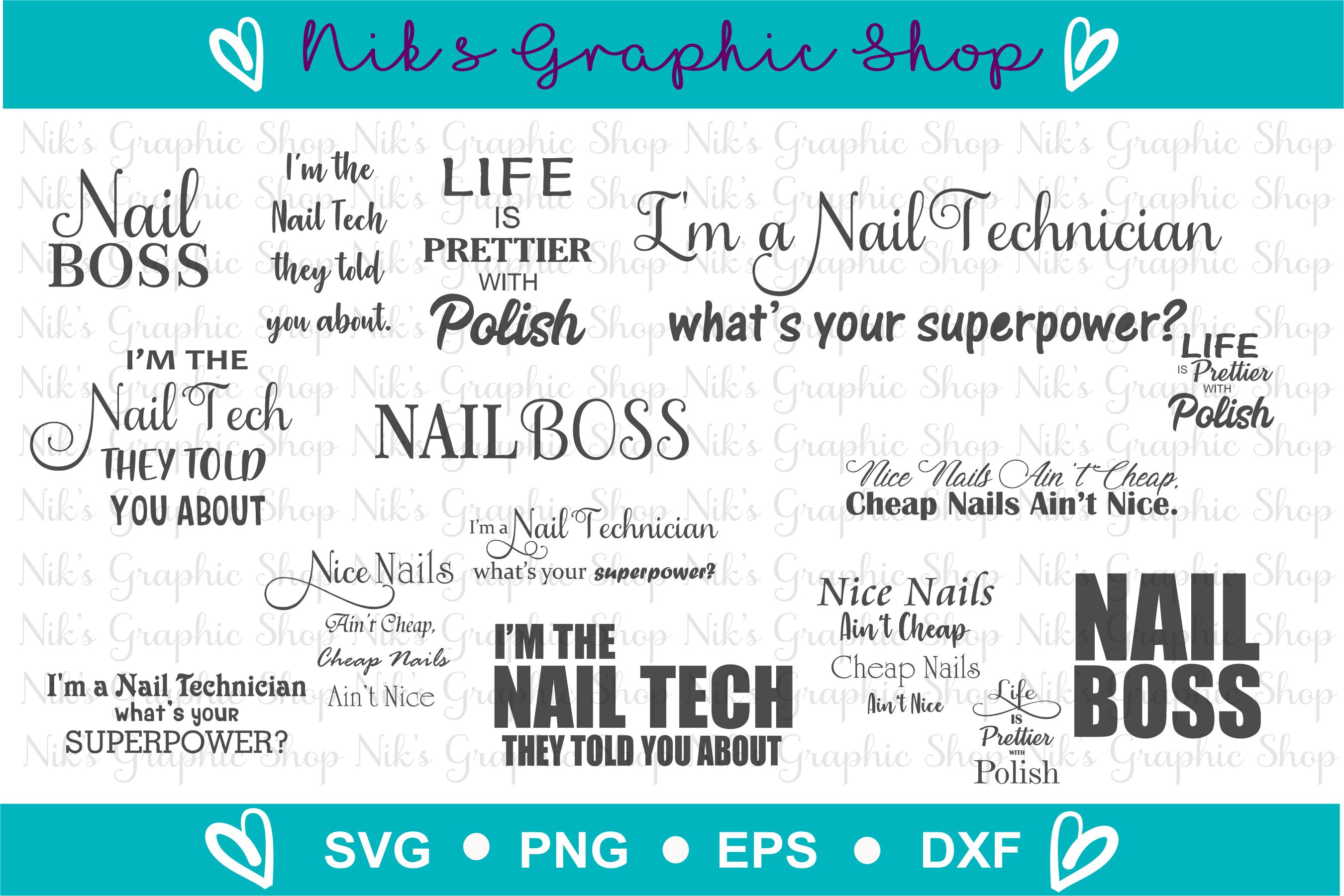 Nail Tech Svg BUNDLE, Svg Png Cut Files, 15 Styles example image 2