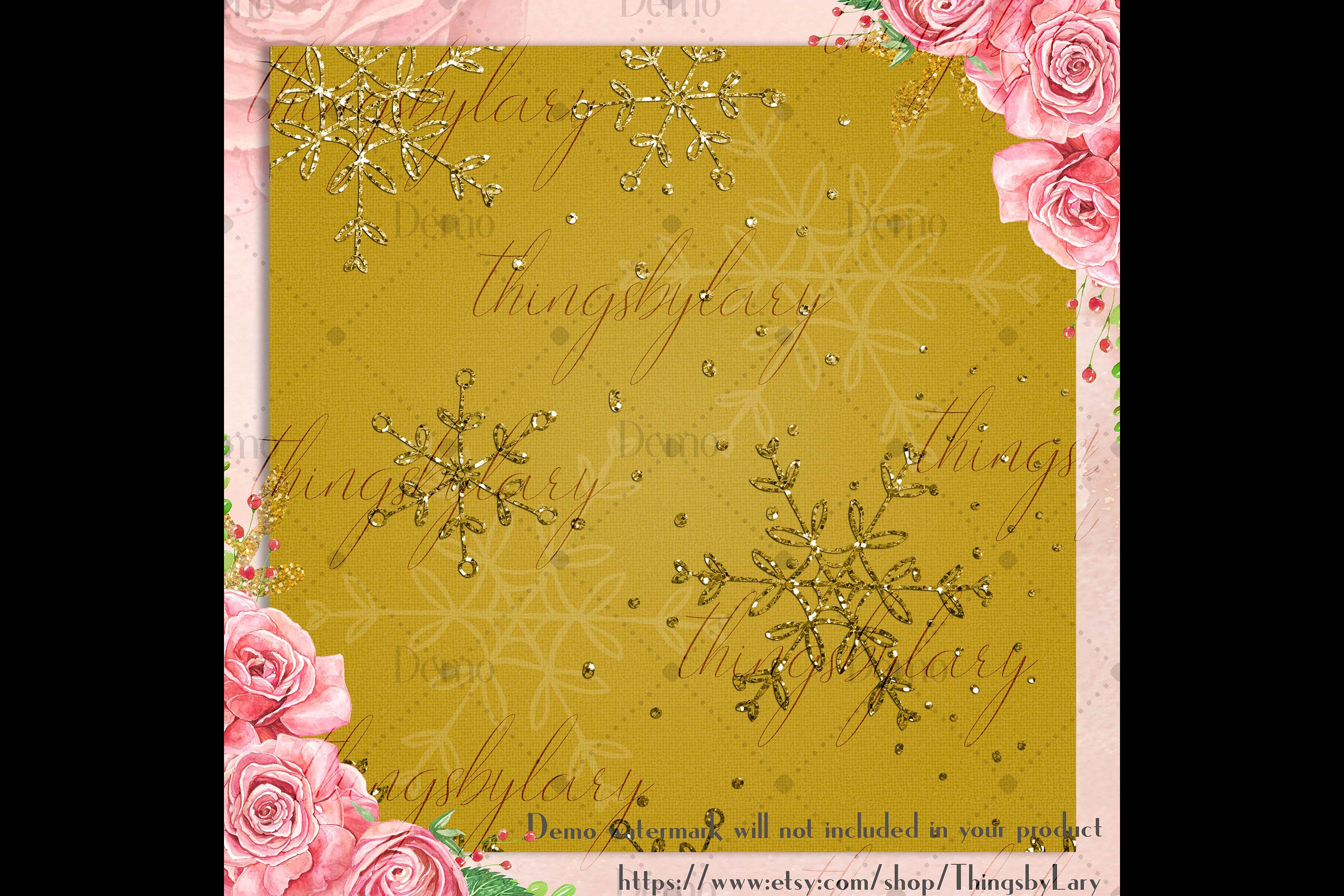 16 Gold Glitter Christmas Printable Digital Papers 12 inch example image 2