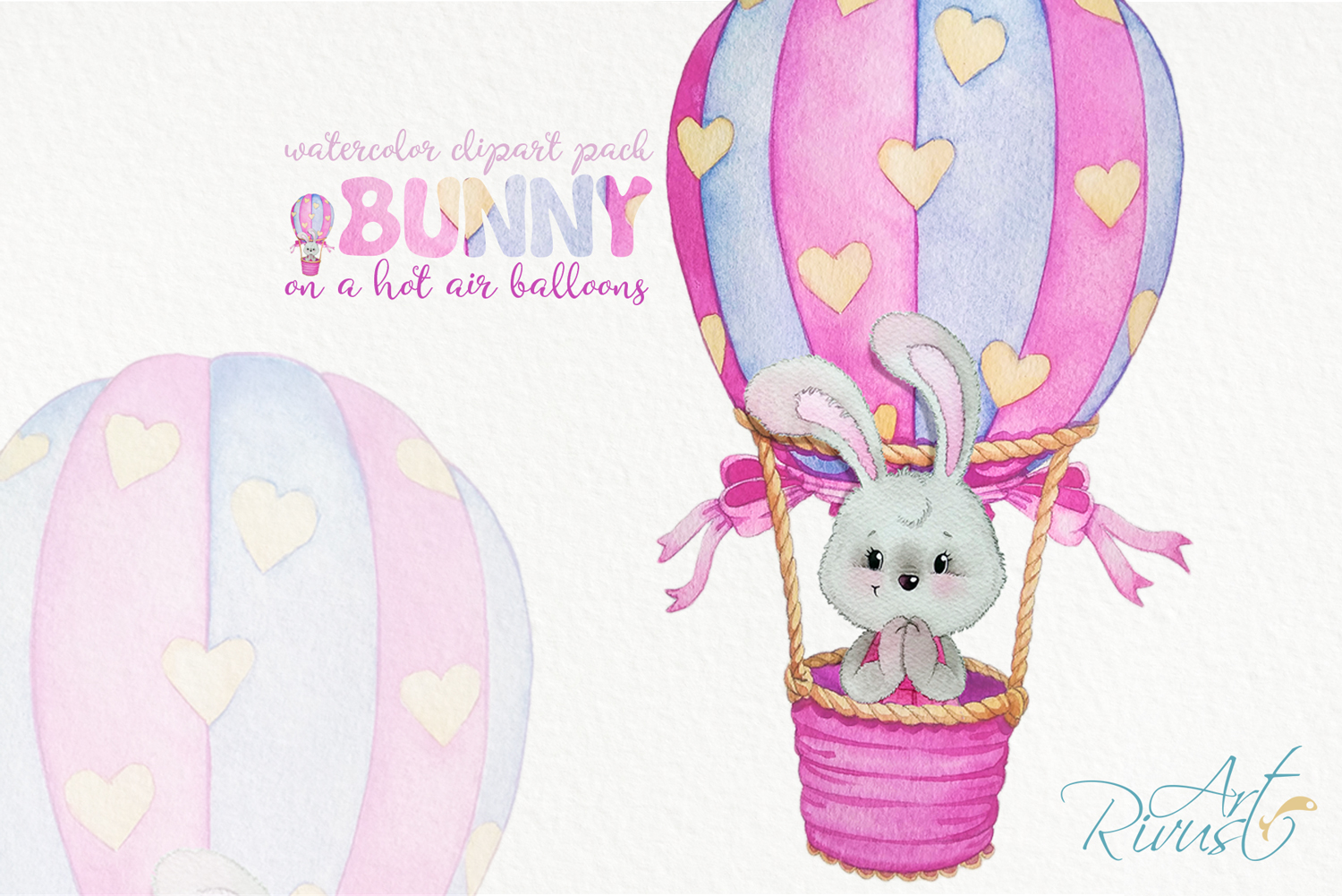 Clipart set watercolor bears with seagull hot air balloons example image 10