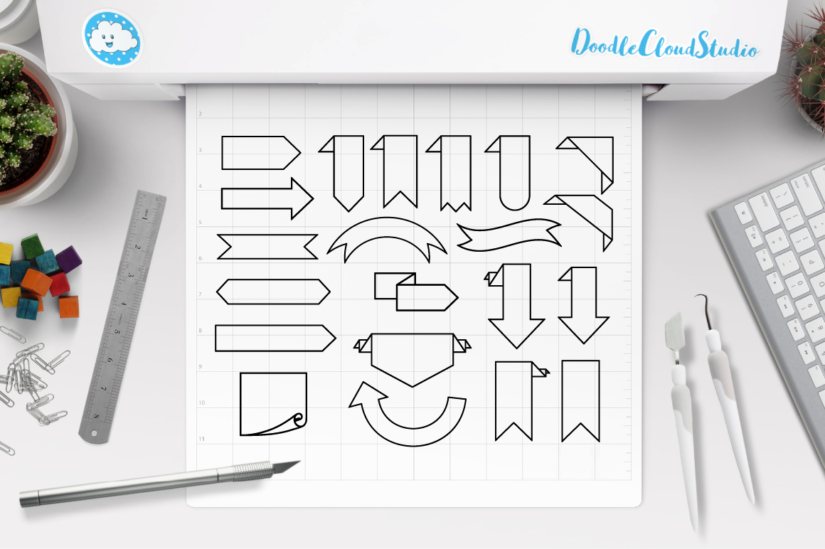 Bookmark Banner SVG, Ribbon banner svg files for Silhouette Cameo and Cricut. outline Banner clipart PNG included,  clipart PNG transparent example image 2