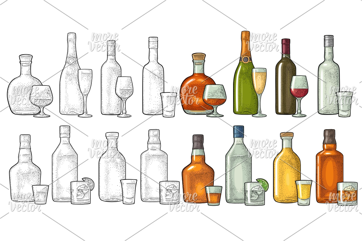 Set glass and bottle whiskey, wine, tequila, cognac, vodka, champagne, gin, rum. Vector engraving example image 1