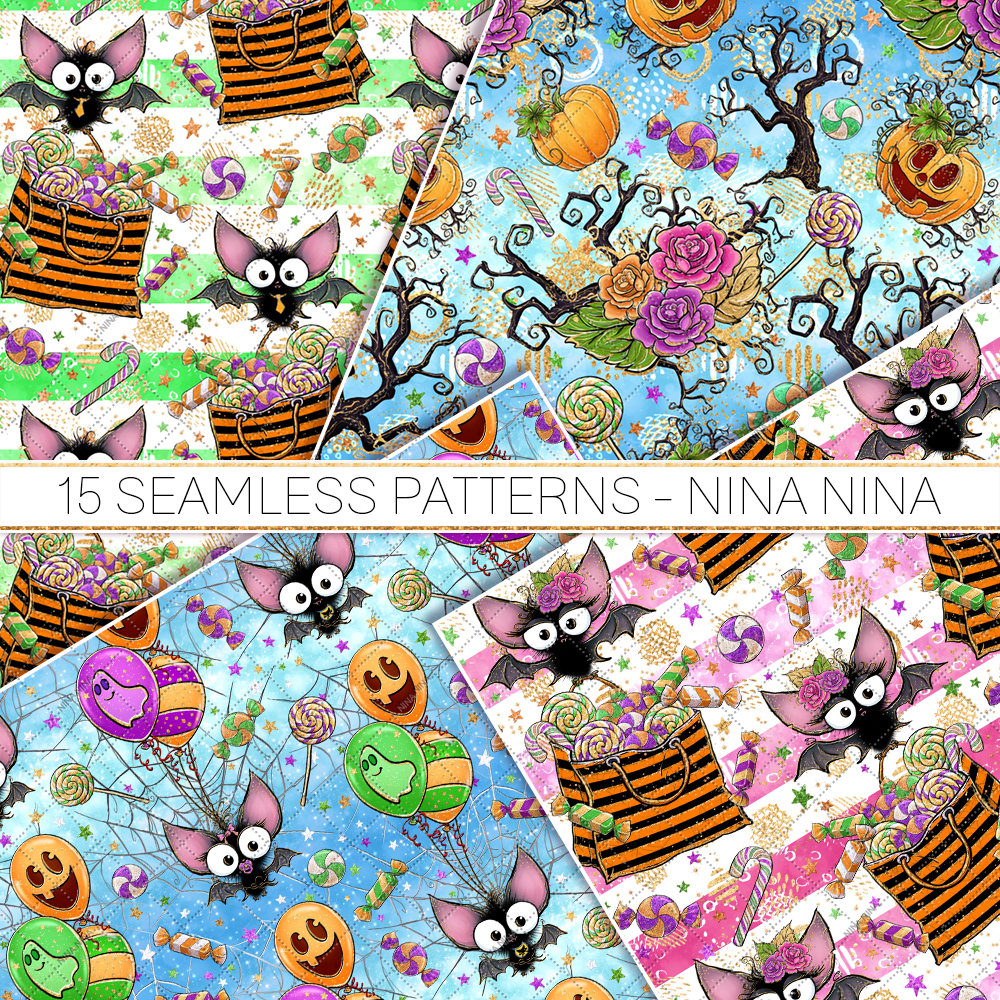 Cute Halloween Seamless Patterns, Bats Digital Papers Pack example image 4