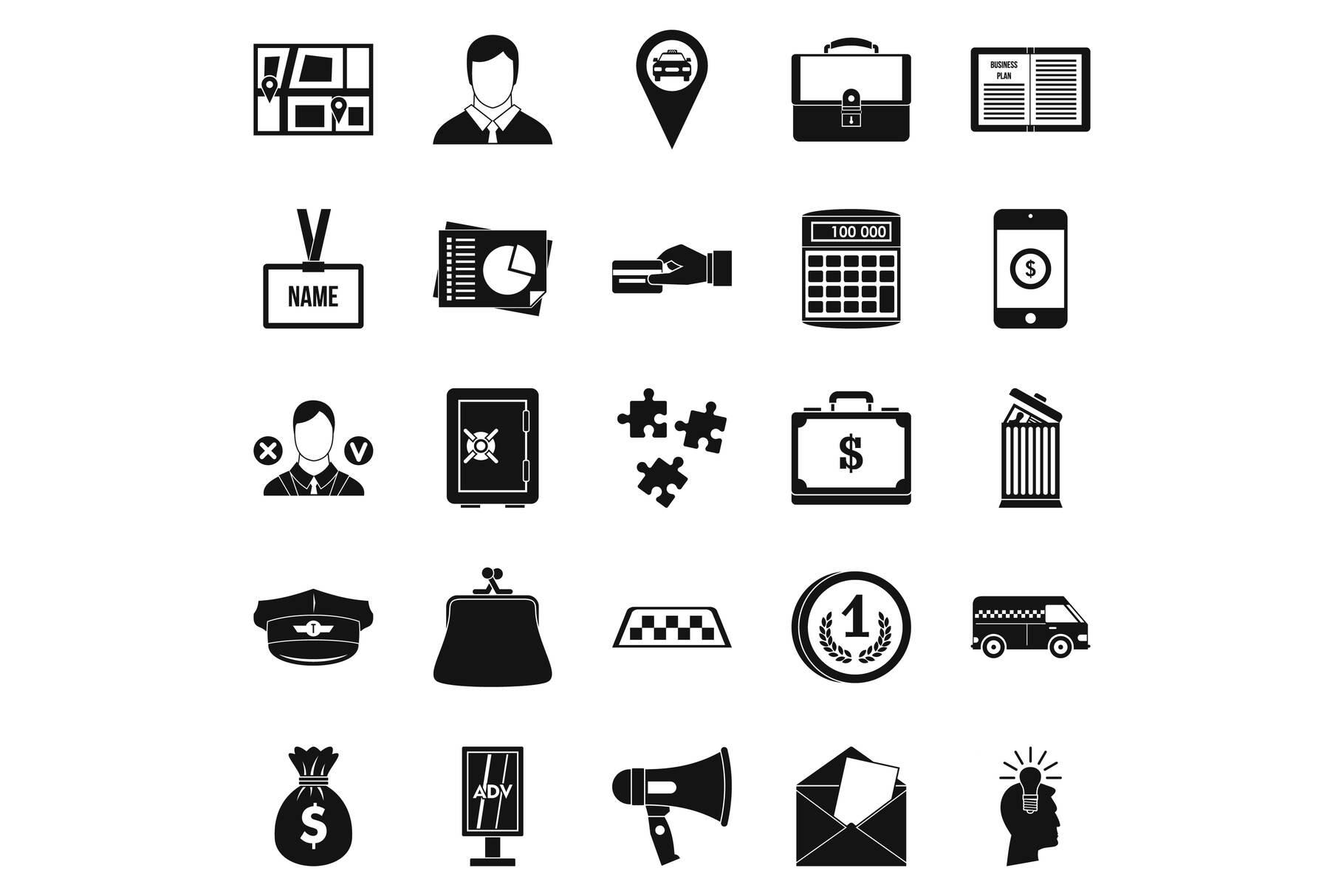 Workweek icons set, simple style example image 1