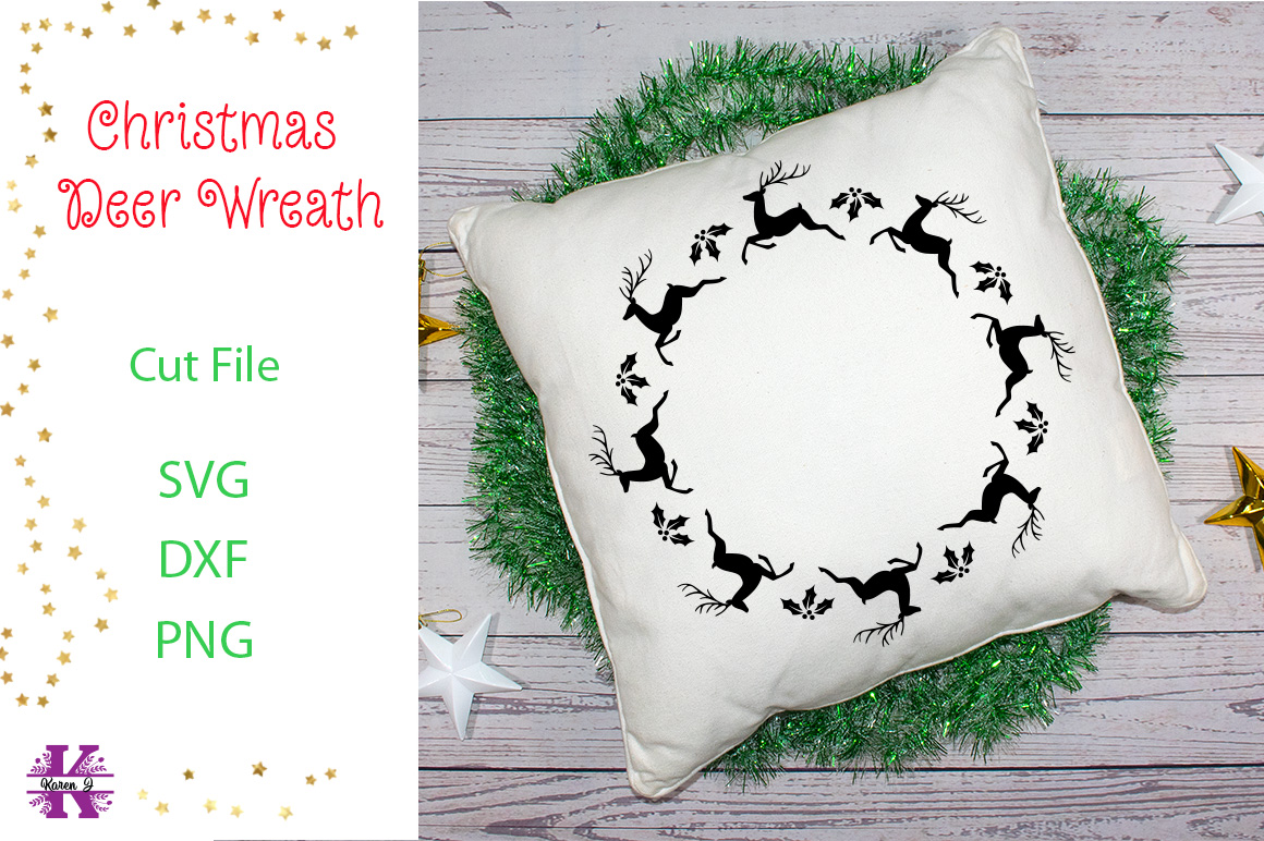 Christmas Deer Wreath SVG Cut File example image 1