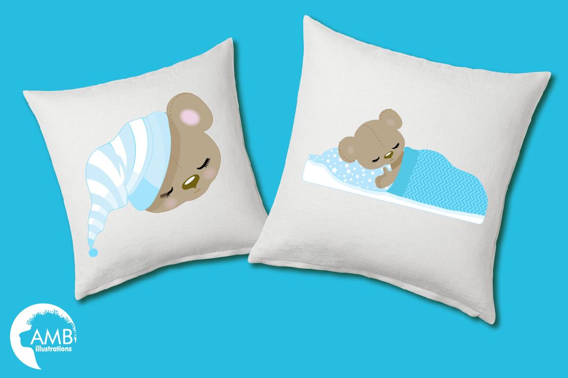 Teddy bear, nursery, baby boy, baby blue bear, clipart, graphics, llustrations AMB-980 example image 4