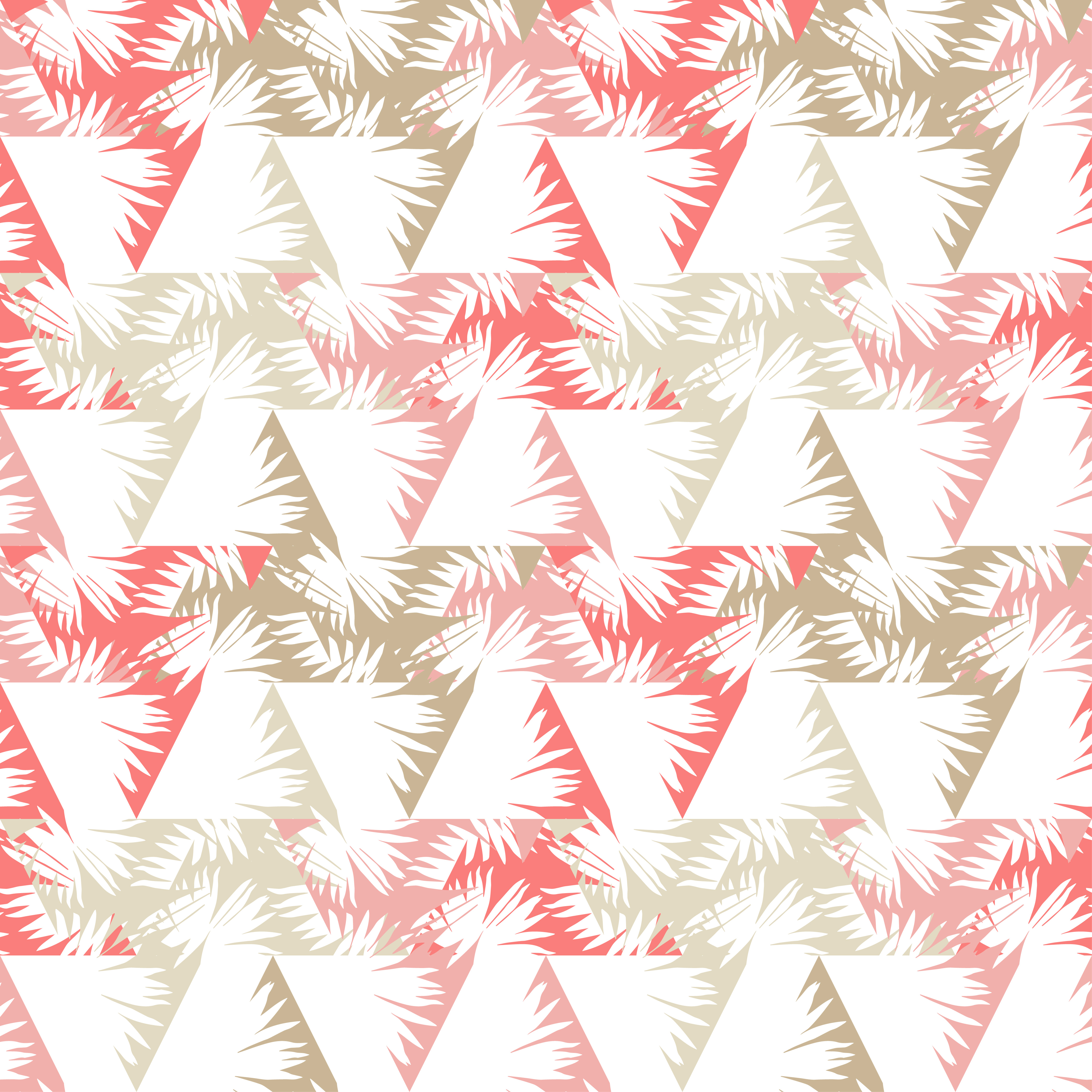 Seamless background with decorative leaves. Palm branch leaves in triangles. example image 1
