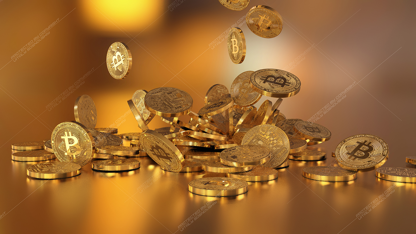 6  files - 3D rendering Bitcoins falling on a pile example image 5