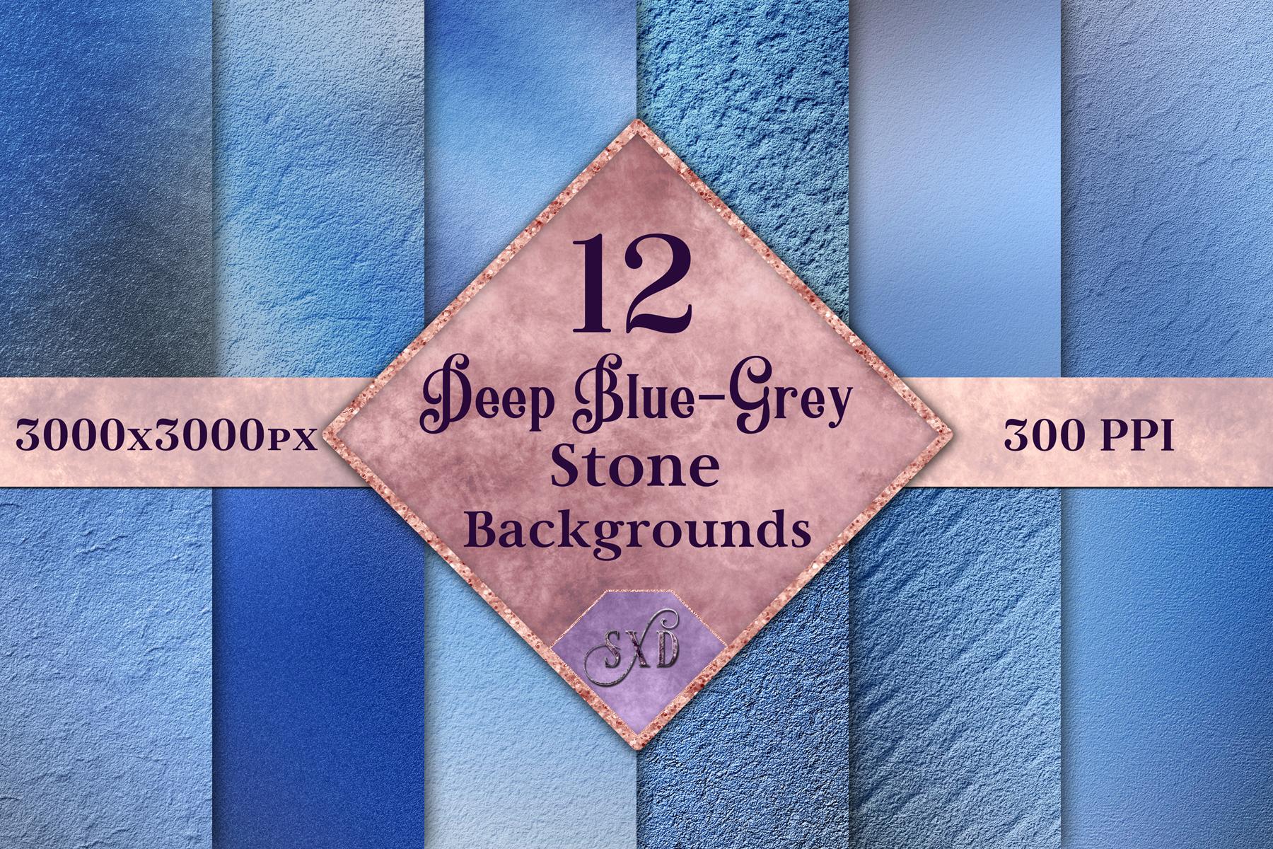 Deep Blue-Grey Stone Backgrounds - 12 Image Textures Set example image 1