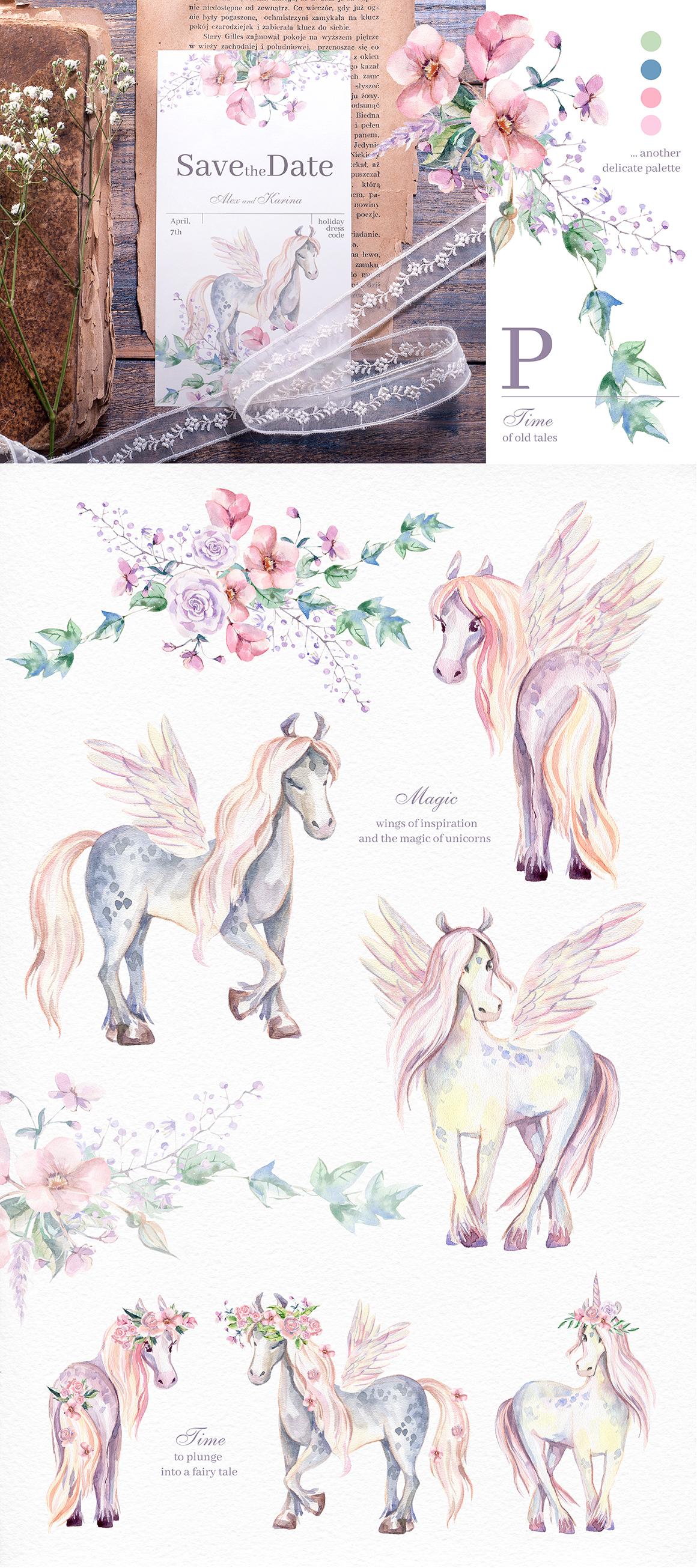 My magic Pony. Watercolor graphic kit. example image 7