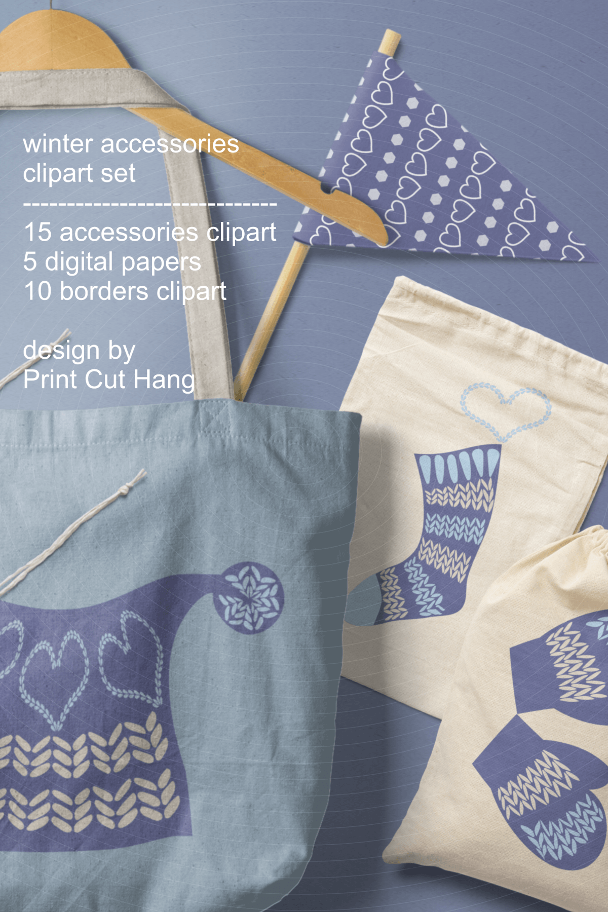 Winter Knitted Accessories Clipart & Scrapbooking Papers Set example image 15