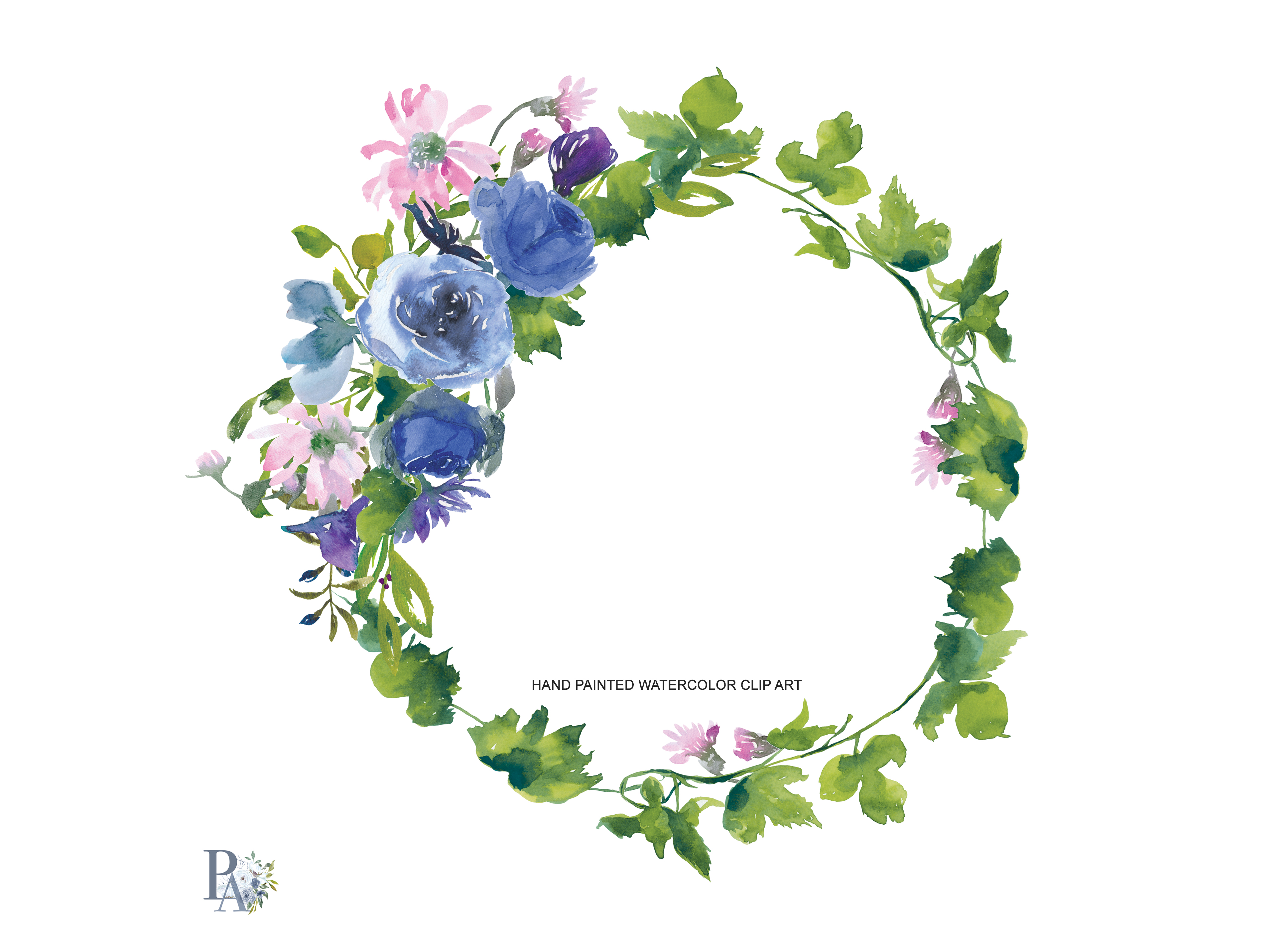 Watercolor Sapphire And Pink Flowers Wreath