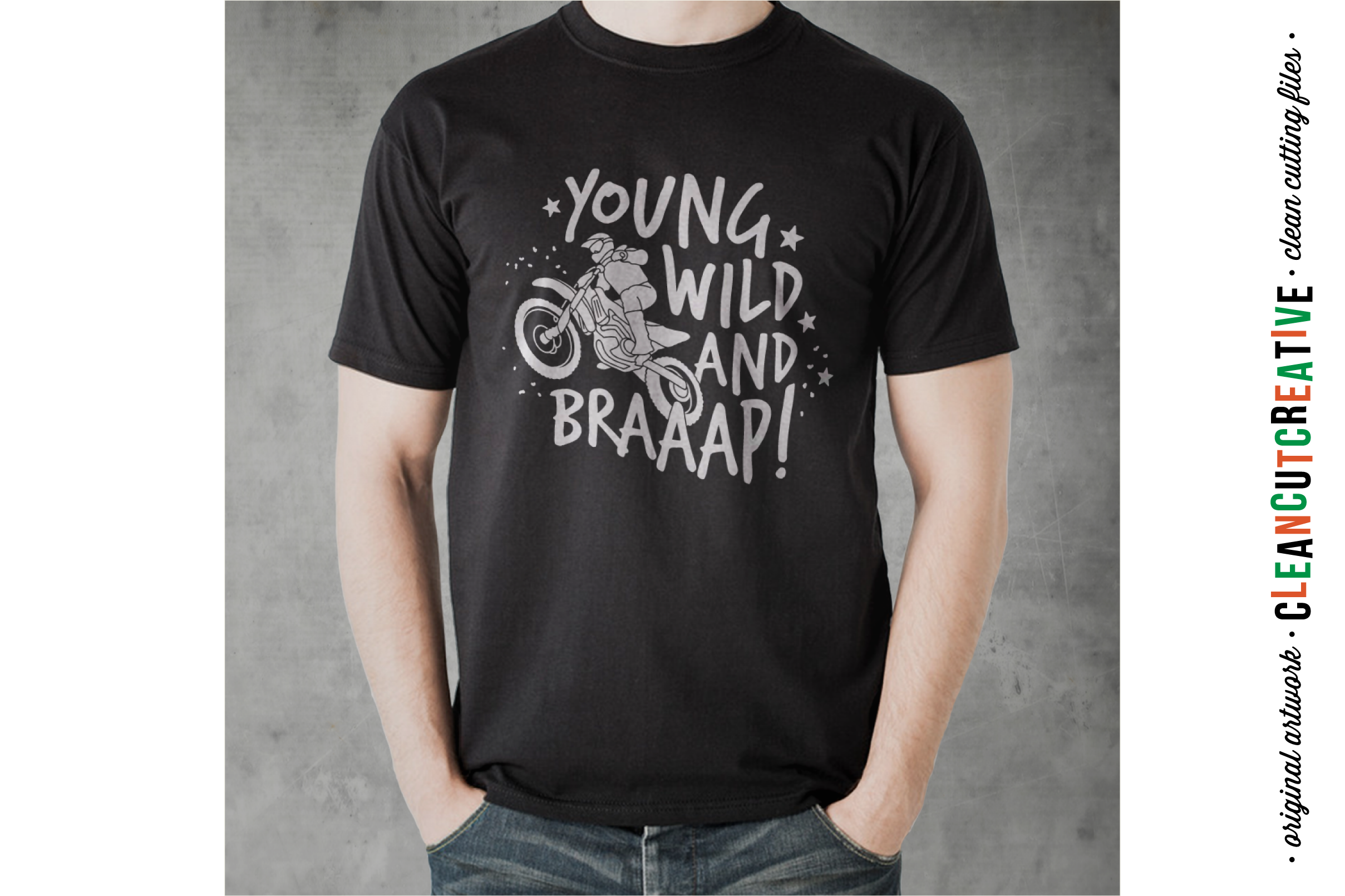 Young Wild and BRAAAP! Boys design for Motocross Dirt Bike Lovers! - SVG DXF EPS PNG - Cricut & Silhouette  example image 2
