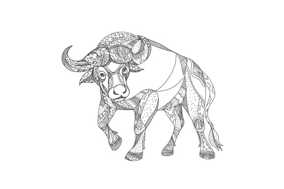 African Buffalo Charging Doodle example image 1