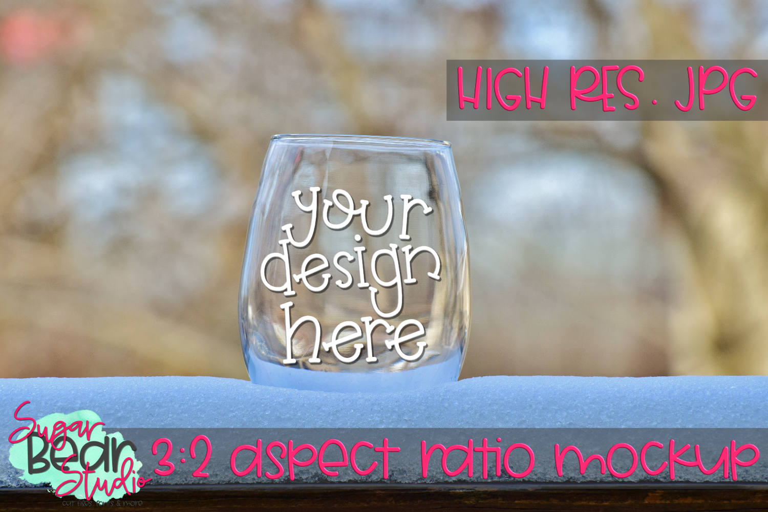 Wine Glass in Snow Mockup example image 1