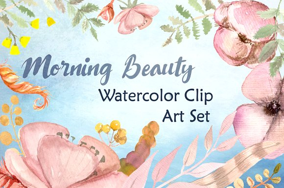 Morning Beauty Watercolor Clipart example image 1