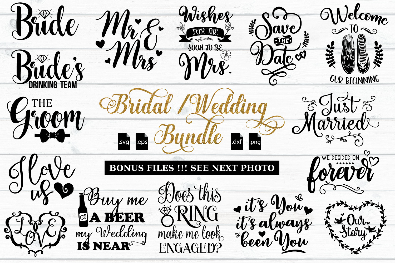 Bridal And Wedding Quotes Bundle Svg Eps Dxf Png