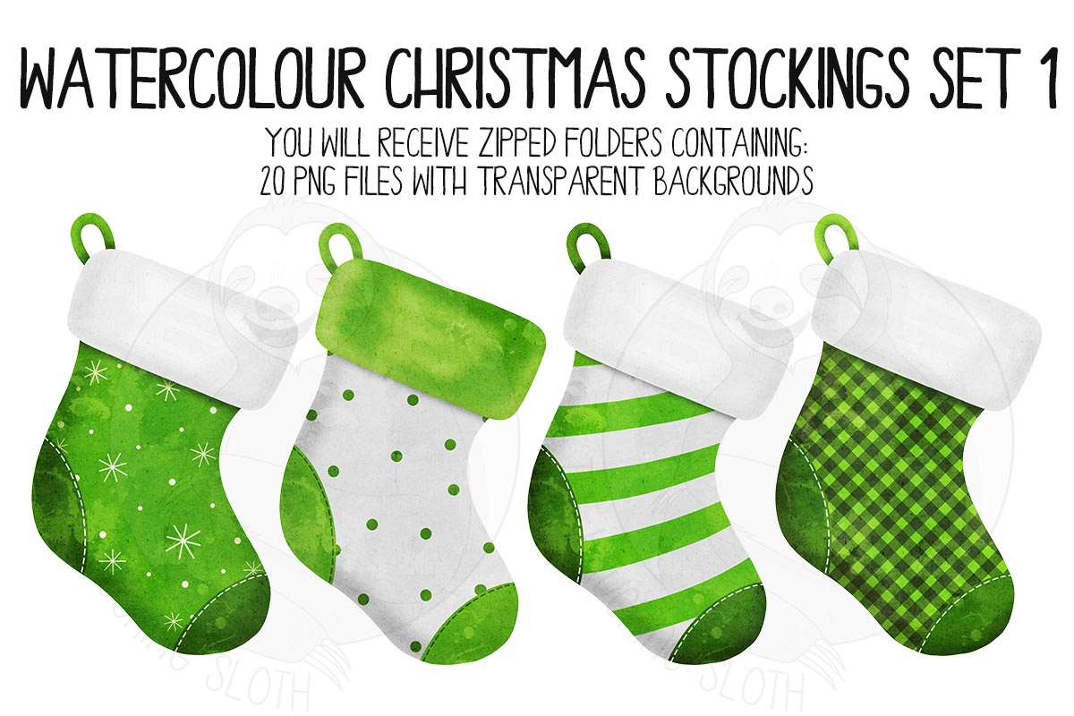 Watercolor Christmas Stocking Clipart example image 4