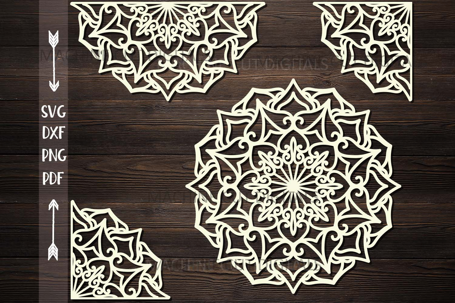 Mandala set corner half border plotter cut svg dxf templates example image 1