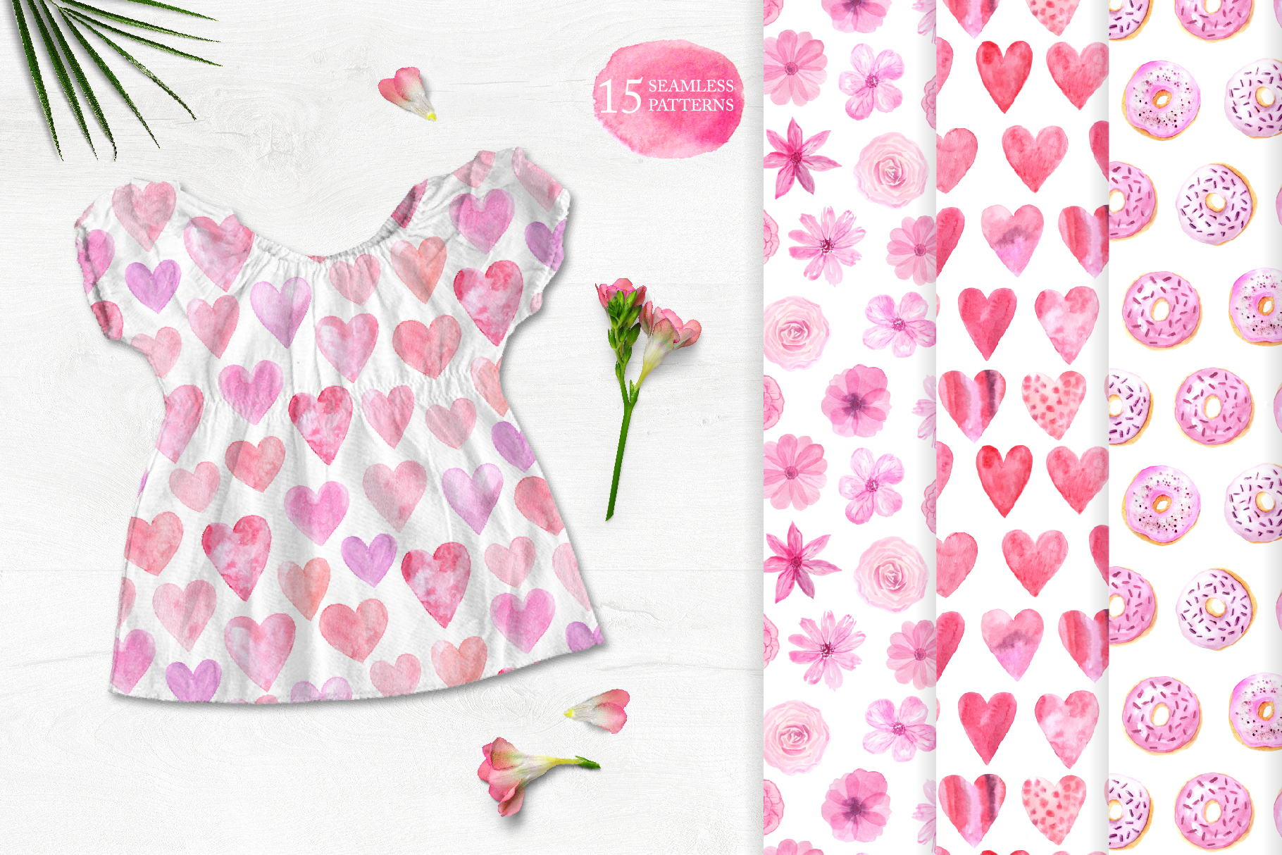 15 Watercolor Love Seamless Patterns example image 2