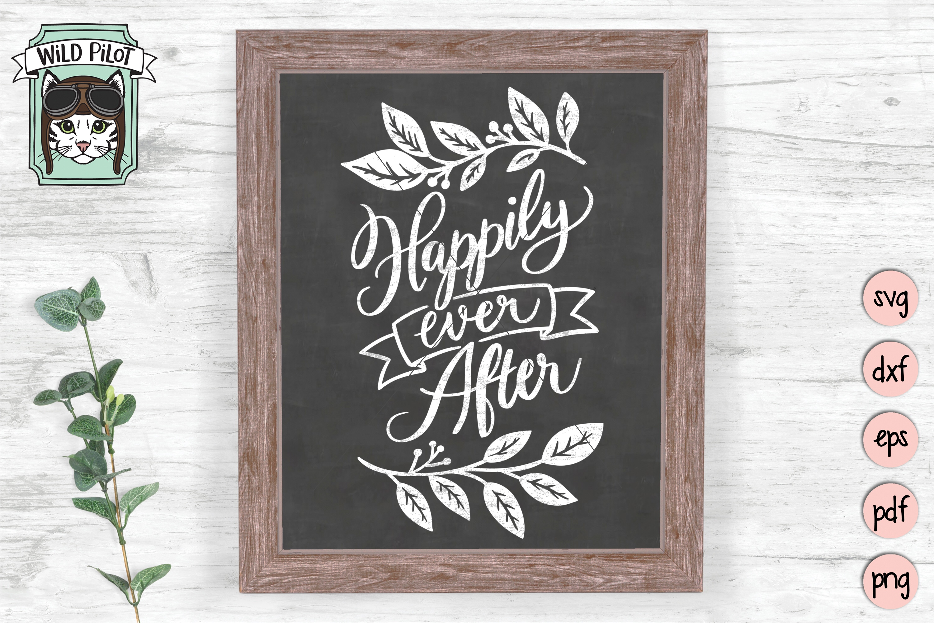 Happily Ever After SVG file, Wedding Sign Cut File, Married example image 2