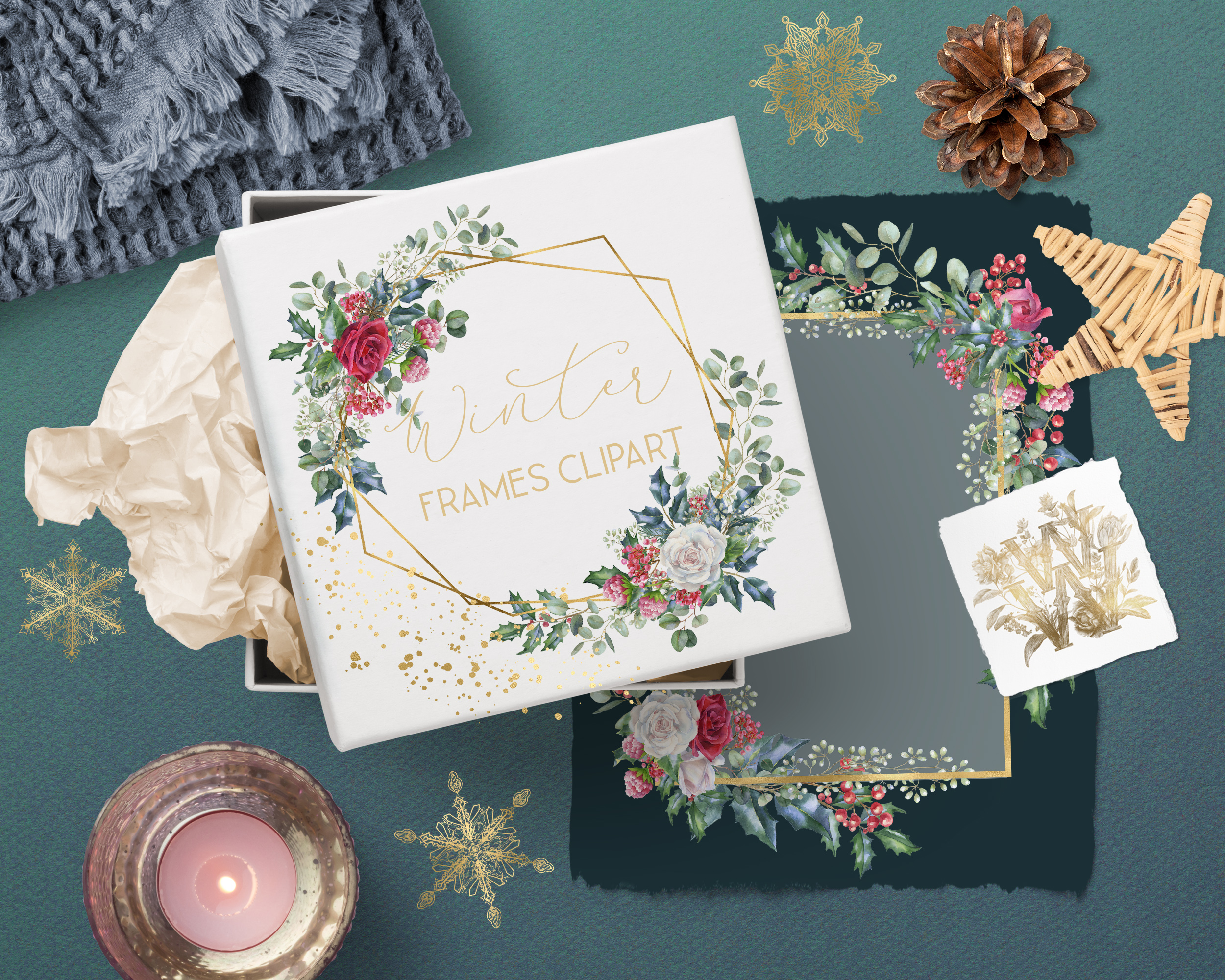 Winter frames clipart, watercolor Christmas borders png example image 4