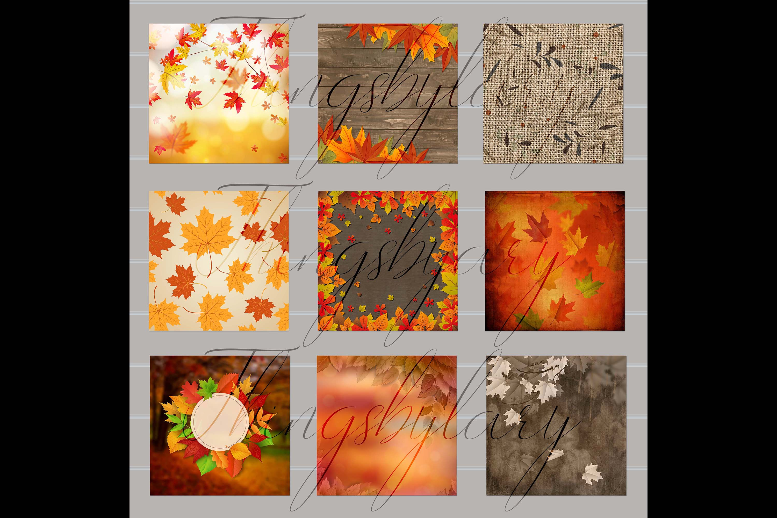 18 Autumn Leaves Digital Papers, thanksgiving fall wedding example image 9